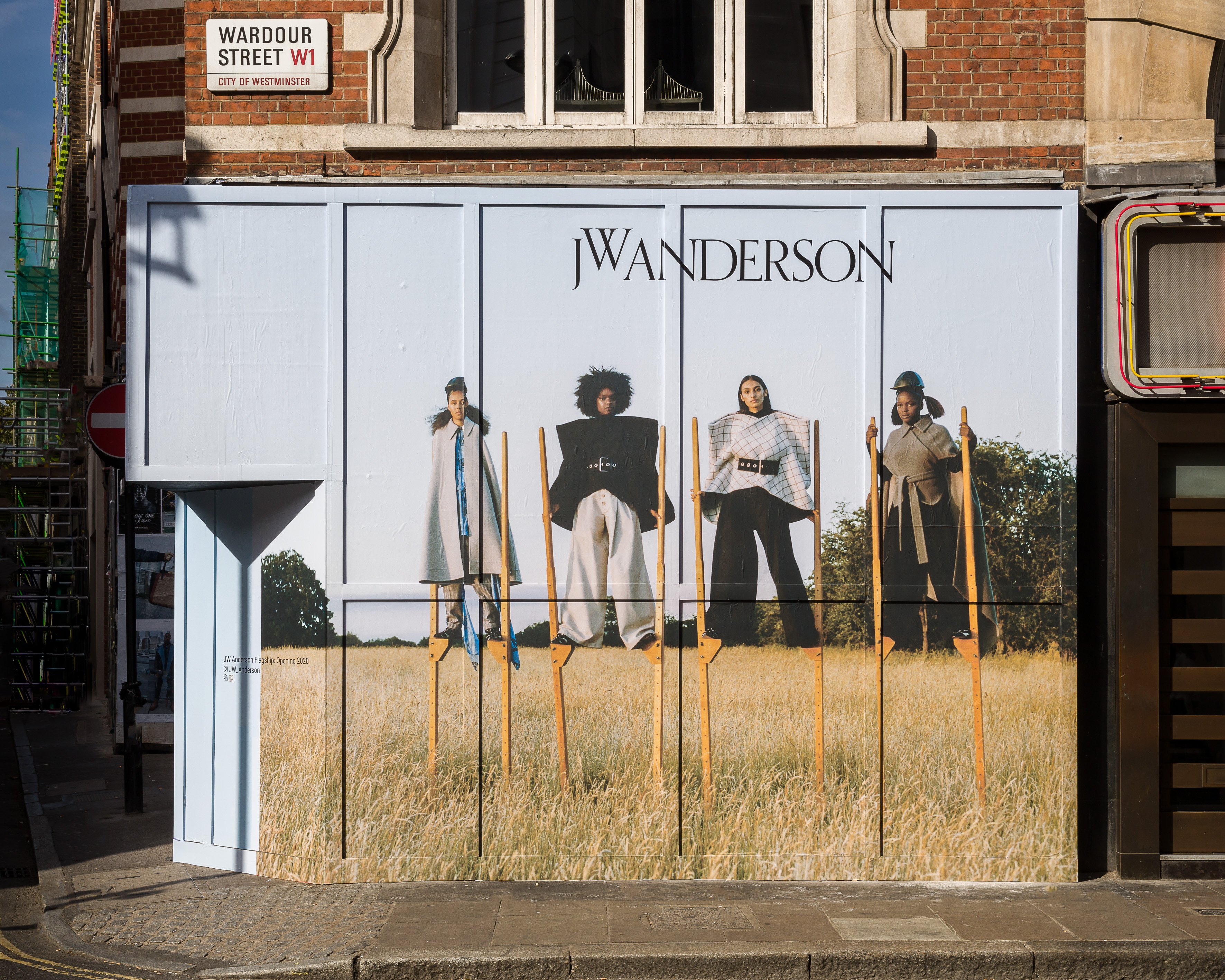 The hoarding outside JW Anderson's store, which is set to open in February 2020.