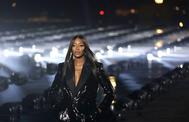 Naomi Campbell closes the Saint Laurent spring 2020 runway.