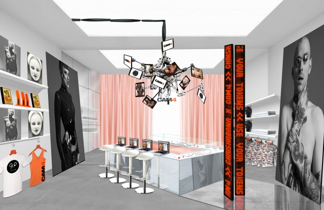 A rendering of Chrishabana XXX Cam4's pop-up shop.
