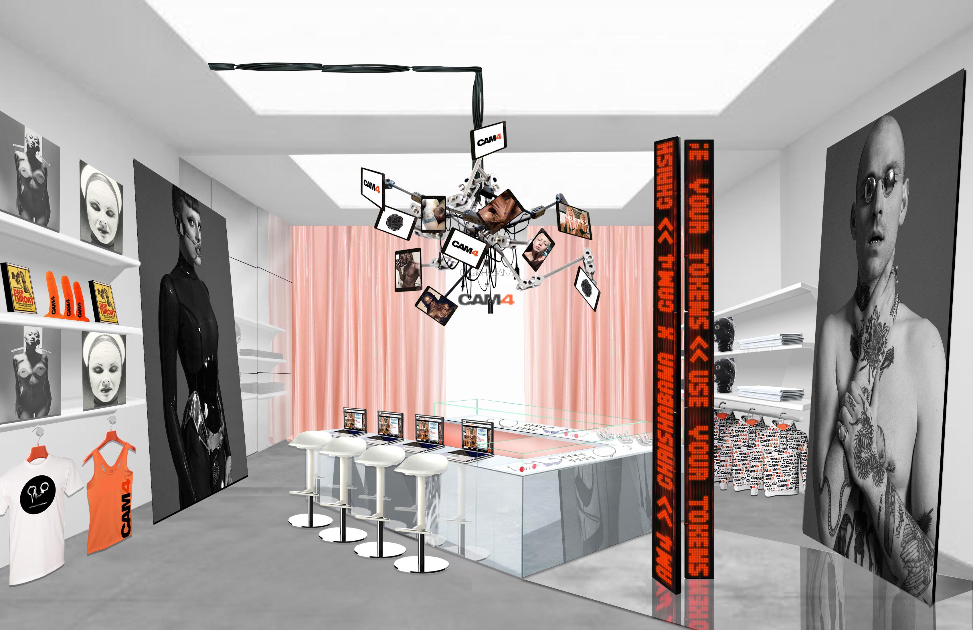 A rendering of Chrishabana XXX Cam4's pop-up shop.
