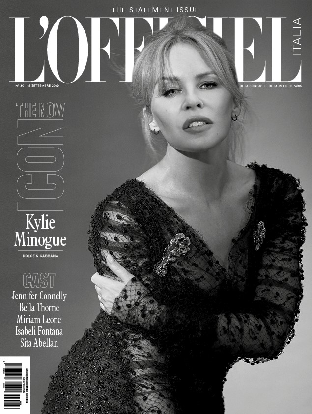 Kylie Minogue on the cover of L'Officiel Italia September issue.