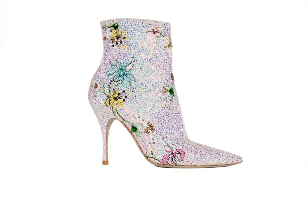 A crystal embellished bootie from the René Caovilla spring 2020 collection.