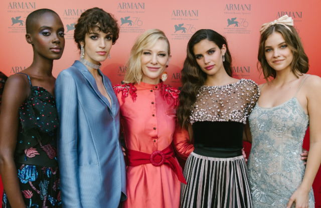Armani Beauty faces Madisin Rian, Greta Ferro, Cate Blanchett, Sara Sampaio and Barbara Palvin in Venice.