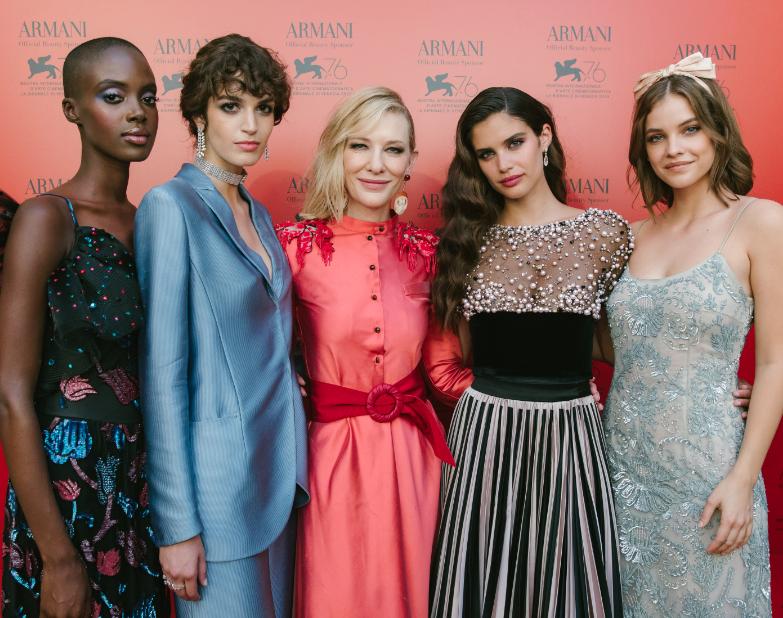 Armani Beauty faces Madisin Rian, Greta Ferro, Cate Blanchett, Sara Sampaio and Barbara Palvin in Venice.