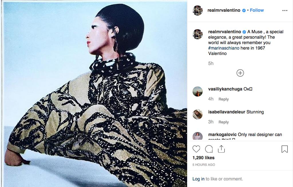 Valentino Garavani's post.