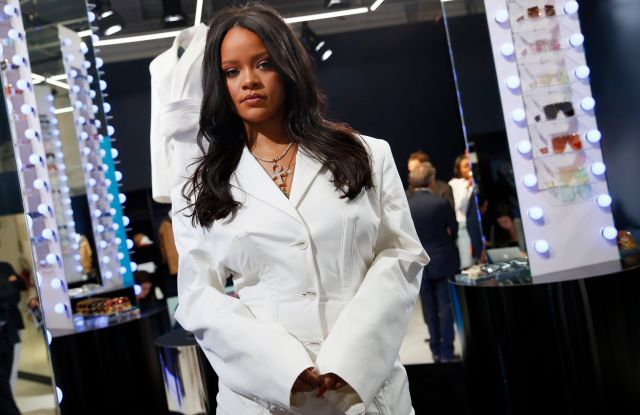 Singer Rihanna, the first black woman in history to head up a major Parisian luxury house, poses as she unveiled her first fashion designs for Fenty at a pop-up store in Paris, FranceFashion Rihanna, Paris, France - 22 May 2019