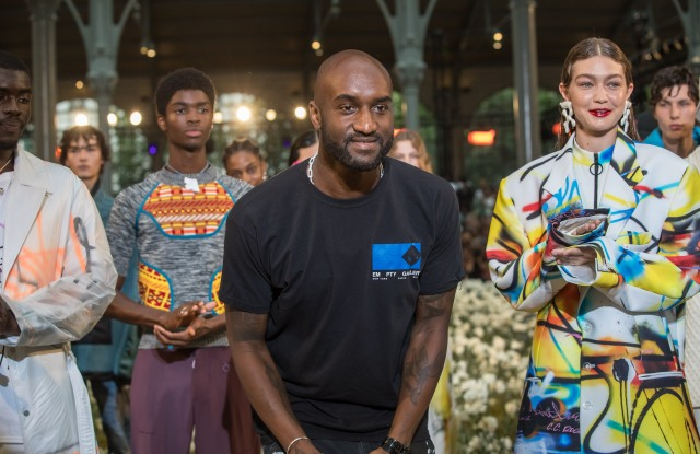 US designer Virgil Abloh (C) and US model Gigi Hadid (R) appear on the runway after the presentation of the Spring/ Summer 2020 Off-White men's Collection during the Paris Fashion Week, in Paris, France, 19 June 2019. The presentation of the Spring/Summer 2020 menswear collections runs from 18 to 23 June 2019.Off-White - Runway - Paris Men's Fashion Week S/S 2020, France - 19 Jun 2019