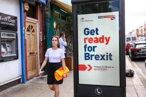 "A woman walks past the new 'Get ready for Brexit' advert on a telephone box in north London. Today, the UK Government launches its £100m ""Prepare for Brexit"" advertising campaign to reassure the nation ahead of a potential no-deal departure from the European Union on 31 October.Government's £100m Brexit campaign, London, UK - 01 Sep 2019"