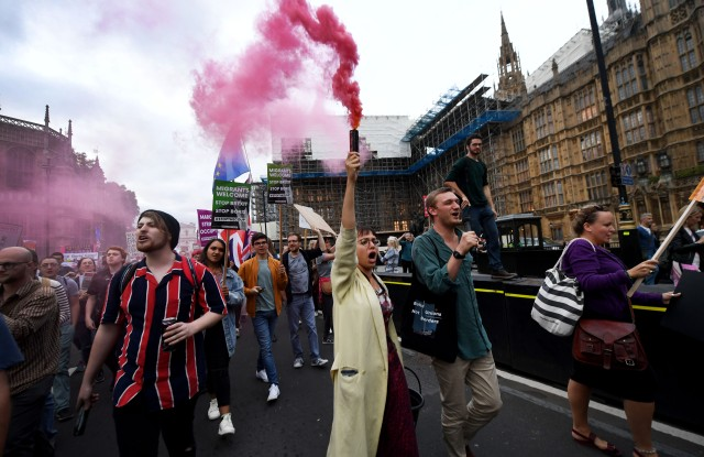 Protesters outside the Houses of Parliament demonstrating against PM Boris Johnson and a no-deal Brexit, on the evening of a crucial Brexit vote.Brexit Vote at Westminster, London, UK - 03 Sep 2019