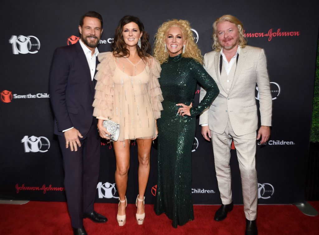 "Jimi Westbrook, Karen Fairchild, Kimberly Schlapman, Phillip Sweet. Little Big Town members, from left, Jimi Westbrook, Karen Fairchild, Kimberly Schlapman and Phillip Sweet attend the Save the Children's ""The Centennial Gala: Changing the World for Children"" at the Hammerstein Ballroom, in New YorkSave The Children 2019 Gala, New York, USA - 12 Sep 2019"