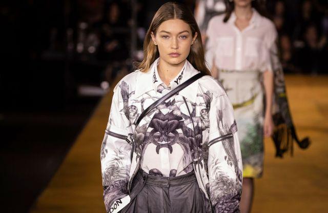 Gigi Hadid wears a creation by Burberry at the Spring/Summer 2020 fashion week runway show in LondonFashion S/S 2020 Burberry, London, United Kingdom - 16 Sep 2019