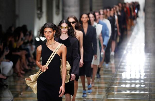 Models wear creations as part of the Bottega Veneta Spring-Summer 2020 collection, unveiled during the fashion week, in Milan, ItalyFashion S/S 2020 Bottega Veneta, Milan, Italy - 19 Sep 2019