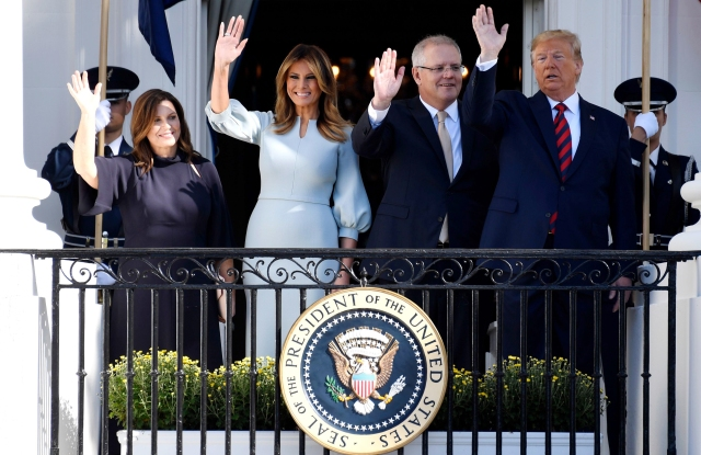 Donald Trump, Melania Trump, Scott Morrison, Jenny Morrison. President Donald Trump and first lady Melania Trump wave with Australian Prime Minister Scott Morrison and his wife Jenny Morrison during a State Arrival Ceremony on the South Lawn of the White House in WashingtonTrump US Australia State Visit, Washington, USA - 20 Sep 2019