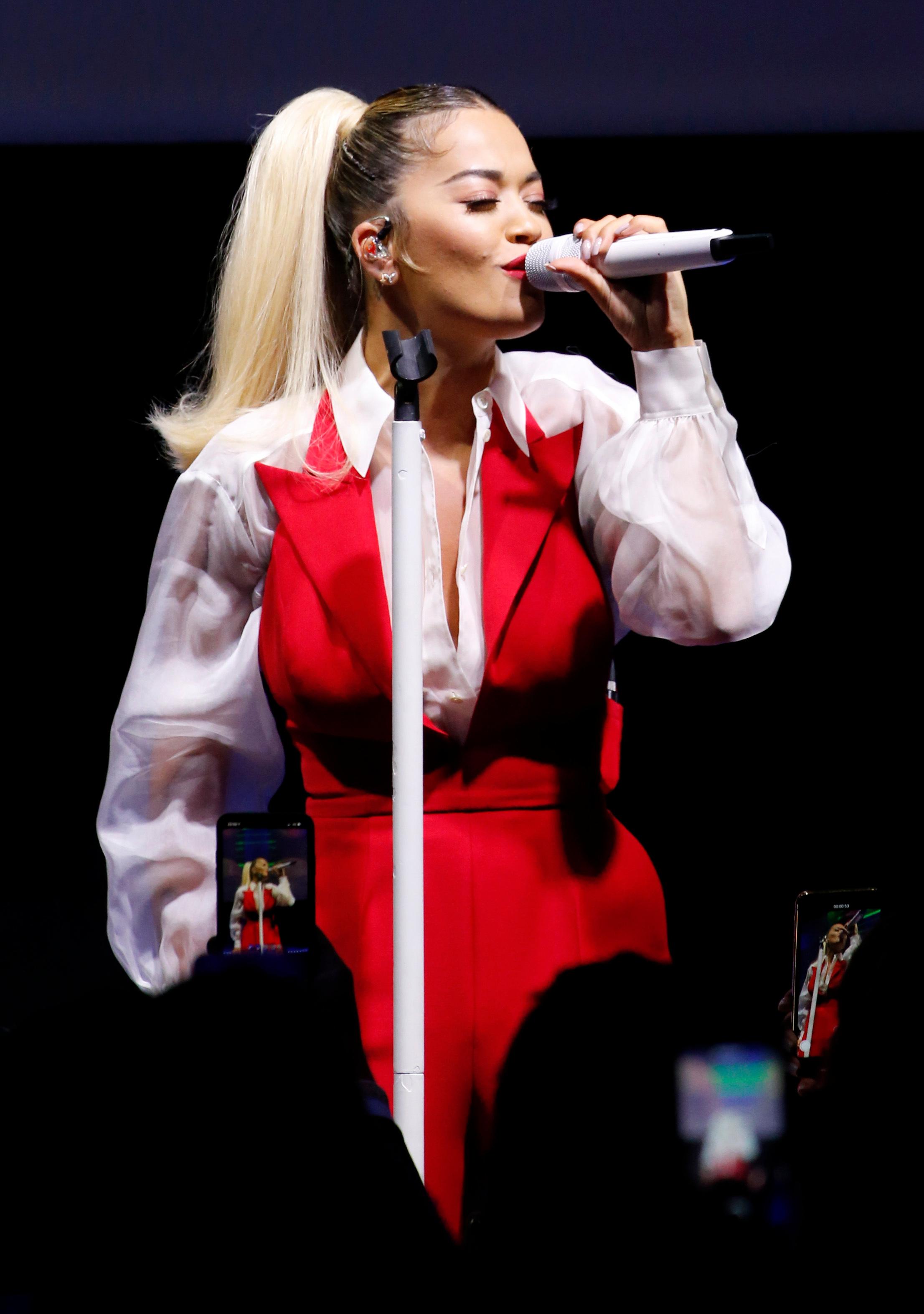 Rita Ora performingamfAR Gala, Inside, Spring Summer 2020, Milan Fashion Week, Italy - 21 Sep 2019