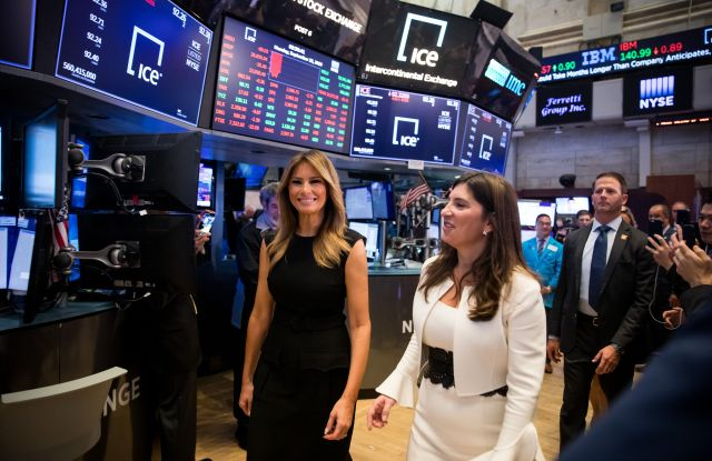 First Lady Melania Trump and Stacey Cunningham, president of NYSE Group Inc., walk on the floor of the New York Stock Exchange in New York, New York, USA, 23 September 2019.