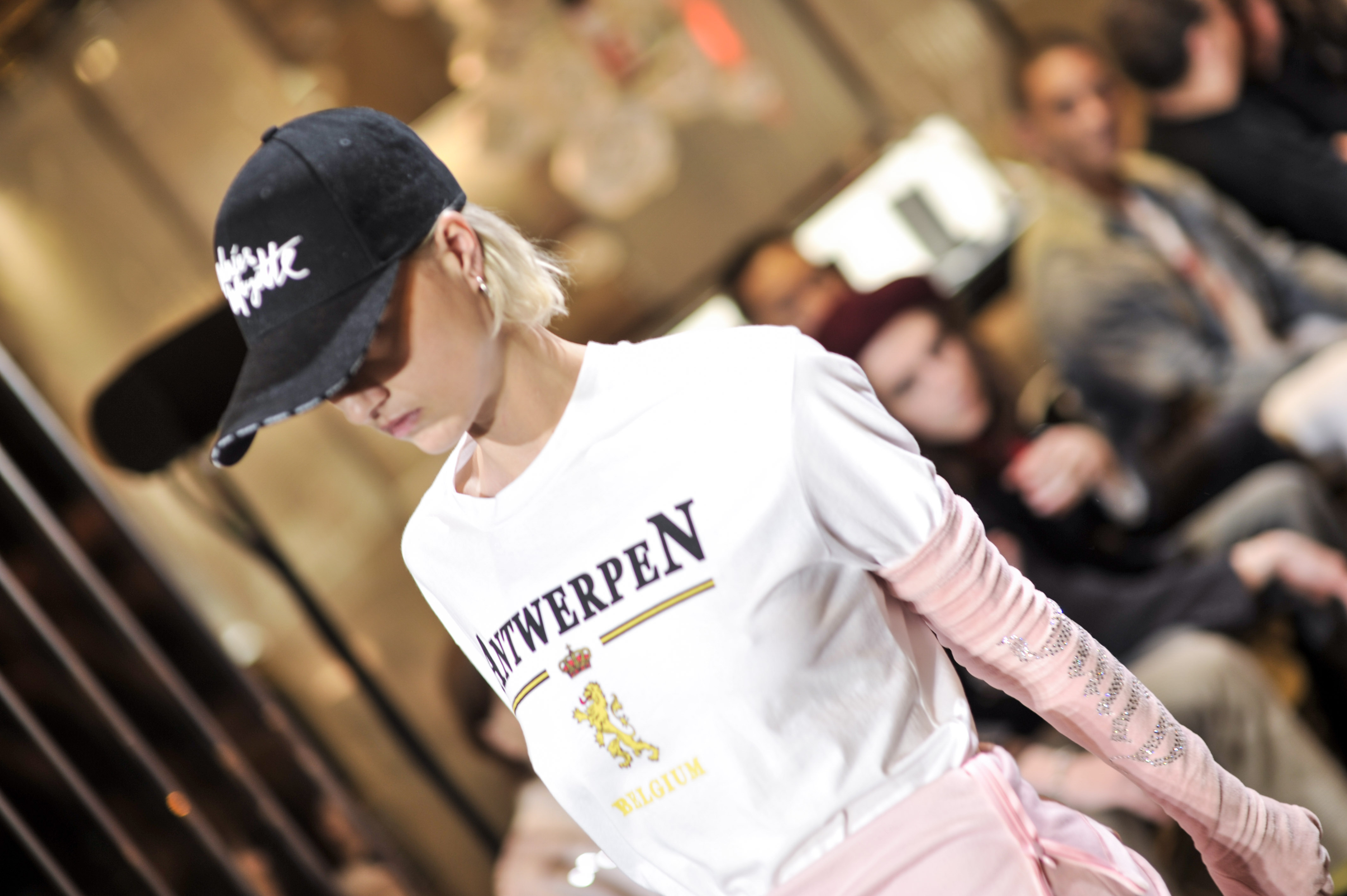 A model from the first Vetements show held during Paris Couture Week