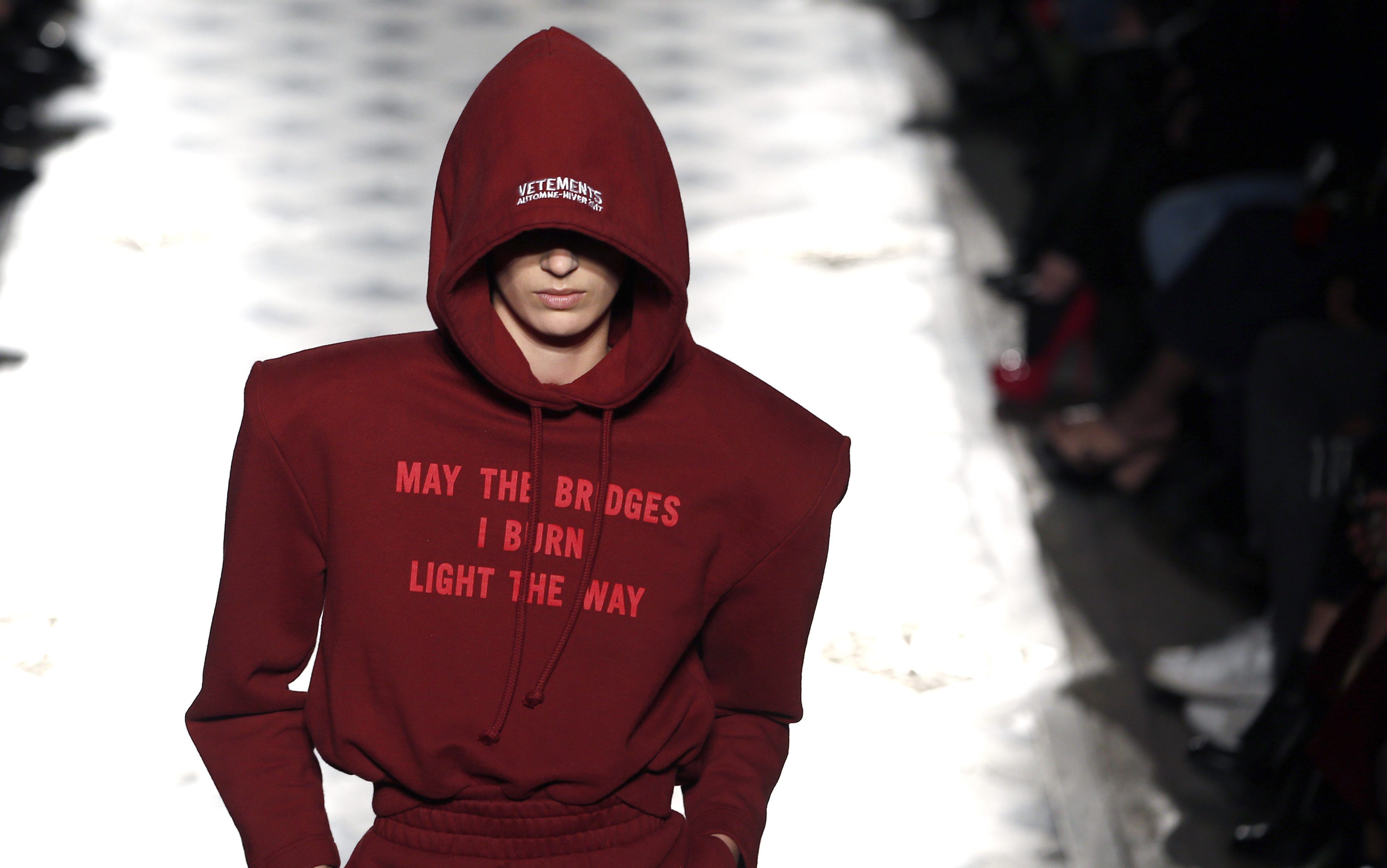 A Model Presents a Creation From the Fall/winter 2016/17 Ready to Wear Collection by Vetements Fashion House During the Paris Fashion Week in Paris France 03 March 2016 the Presentation of the Women's Collections Runs From 01 March to 09 March France ParisFrance Paris Fashion Week - Mar 2016