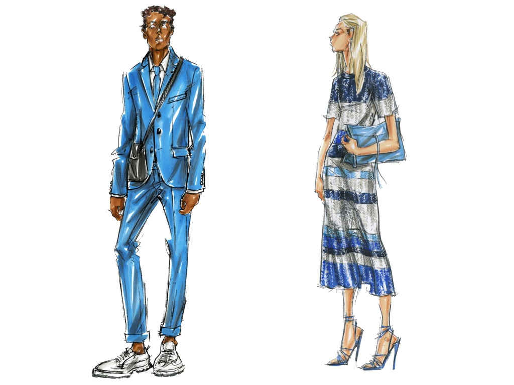 Sketches of a men's and women's look from Boss spring 2020 collection.