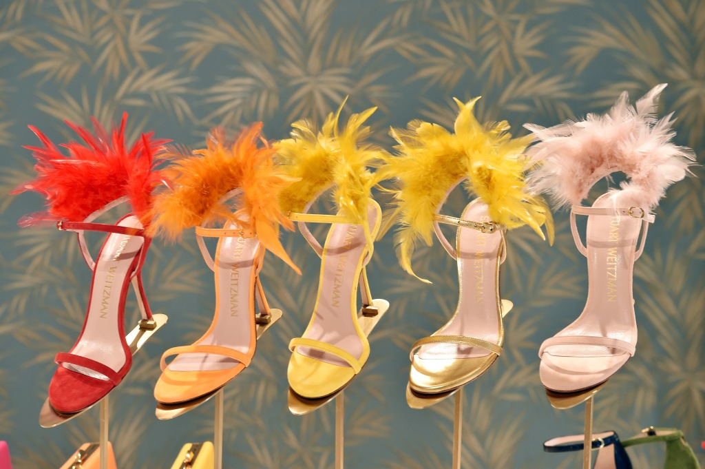 Sandals embellished with feathers from the Stuart Weitzman spring 2020 collection.