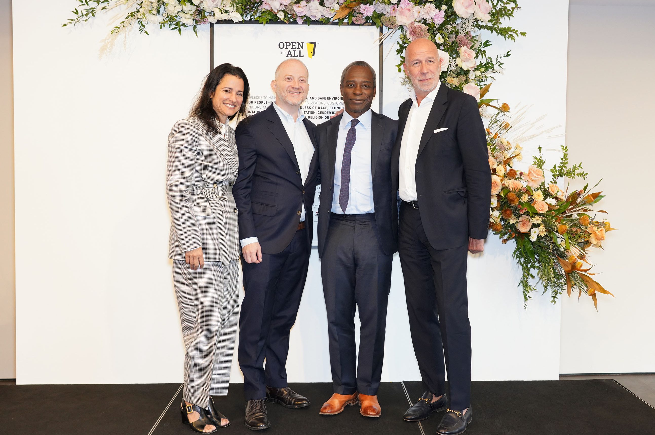 Tapestry's senior leadership team. From left, Anna Bakst, ceo and brand president of Kate Spade New York, Joshua Schulman, left, CEO and president of Coach, Jide Zeitlin, CEO of Tapestry and Eraldo Poletto, ceo and brand president of Stuart Weitzman.