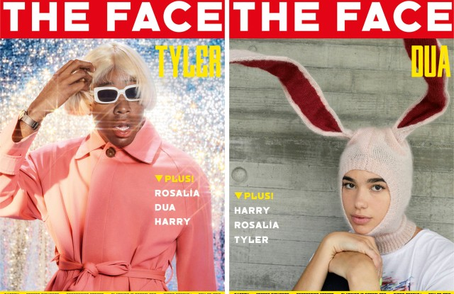 Tyler the Creator and Dua Lipa on individual covers of The Face magazine's first 2019 print issue.