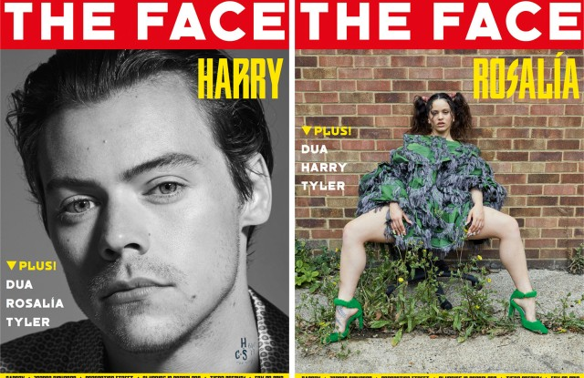 Harry Styles and Rosalia on individual covers of The Face magazine's first 2019 print issue.
