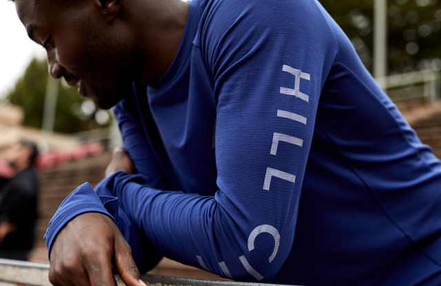 Hill City's long-sleeve, sweat-wicking, quick-dry graphic train crew made from sustainable Tencel pique mesh.