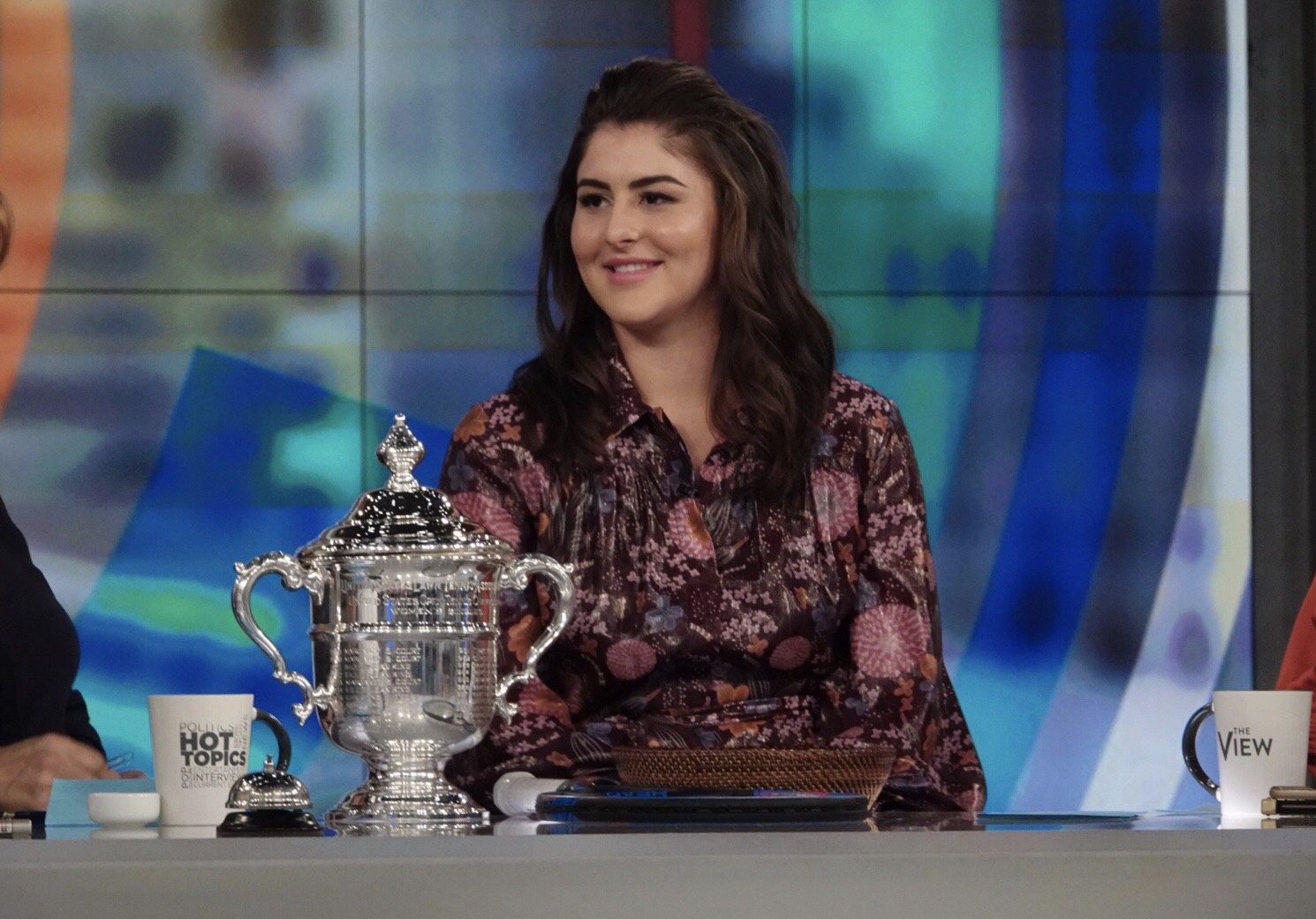"""Bianca Andreescu wearing a Dennis Basso dress on ABC's """"The View."""""""