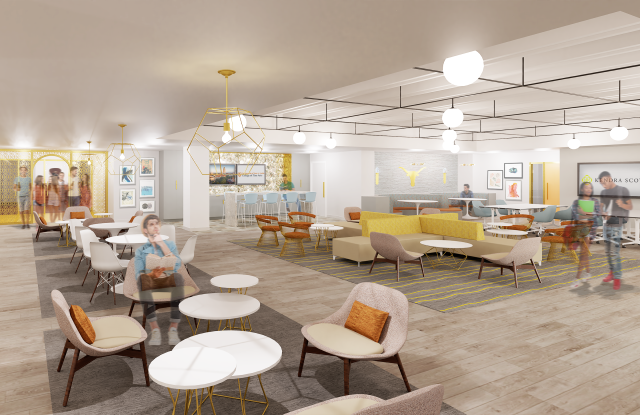 A rendering of Kendra Scott's forthcoming student creative center, to open at the University of Texas, Austin in September 2020.