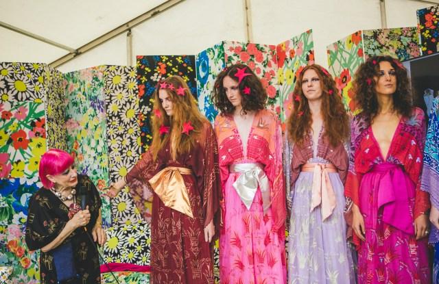 Zandra Rhodes and models at Port Eliot Festival, 2017