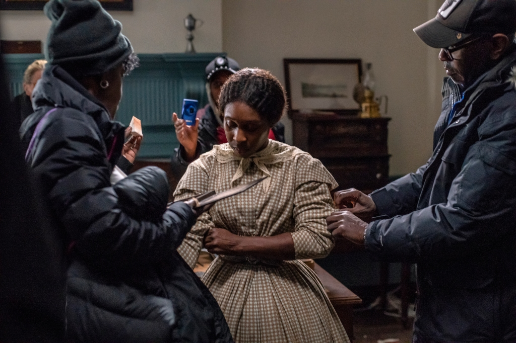 """Makeup designer Angie Wells, Paul Tazewell and Cynthia Erivo on set for """"Harriet."""""""
