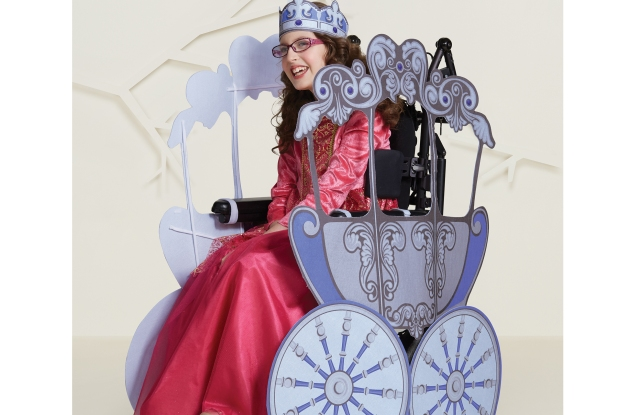 Target's adaptive Halloween princess costume easily fits over a wheelchair.