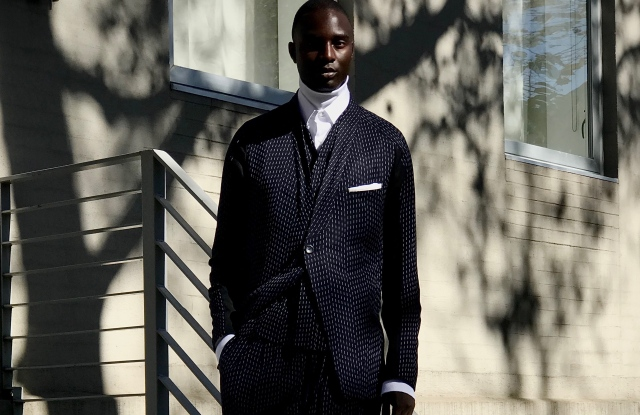 An Abasi Rosborough suit created from a computer generated pattern.