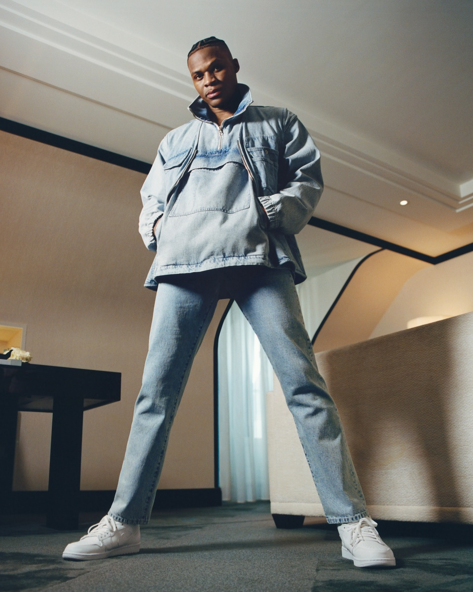 Russell Westbrook models a silhouette from his collection with Acne Studios.
