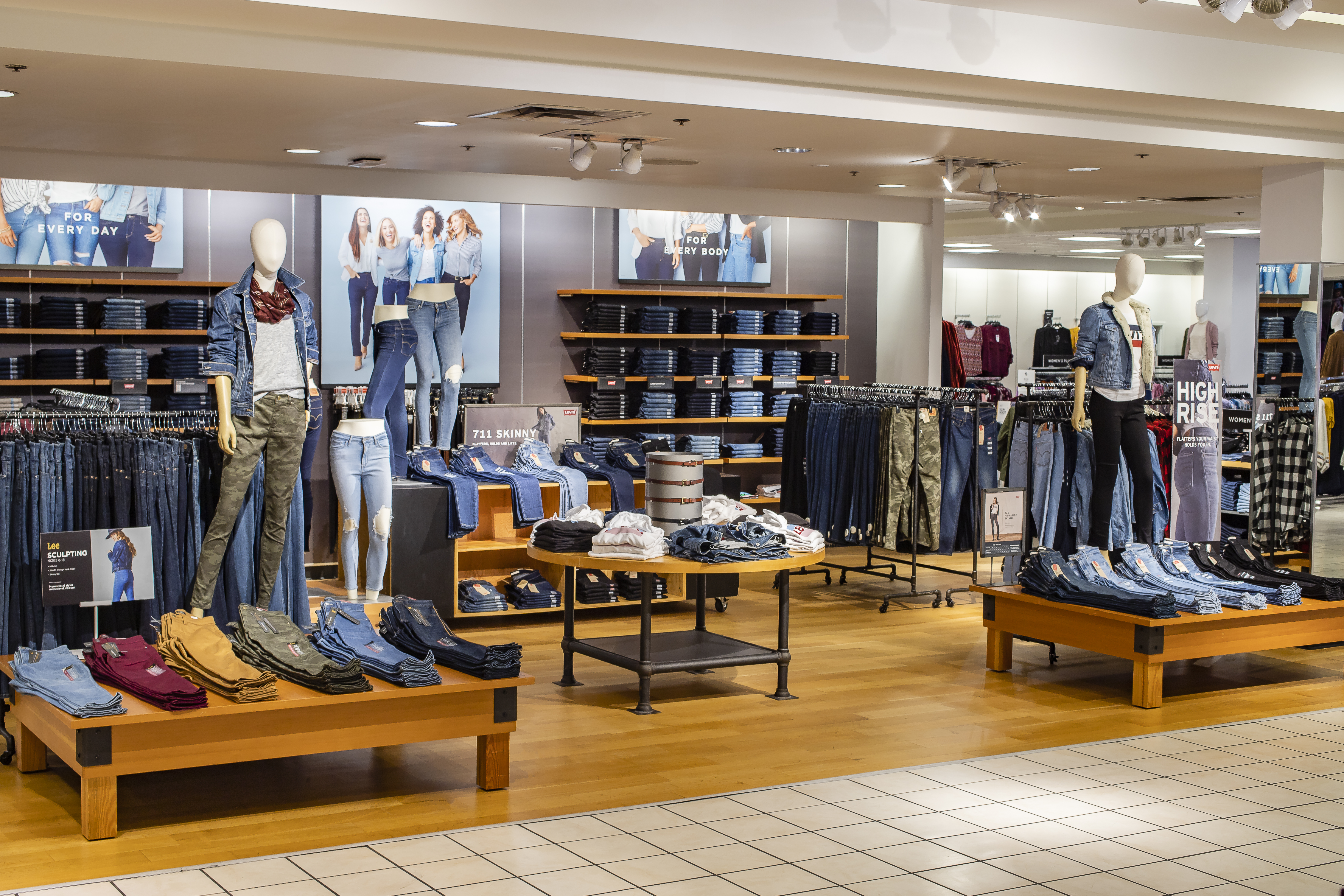 """Denim in the """"all-day"""" section in Penney's San Antonio store last year. Levi's and private brands Arizona and A.n.a. have been the backbone of Penney's denim offering."""