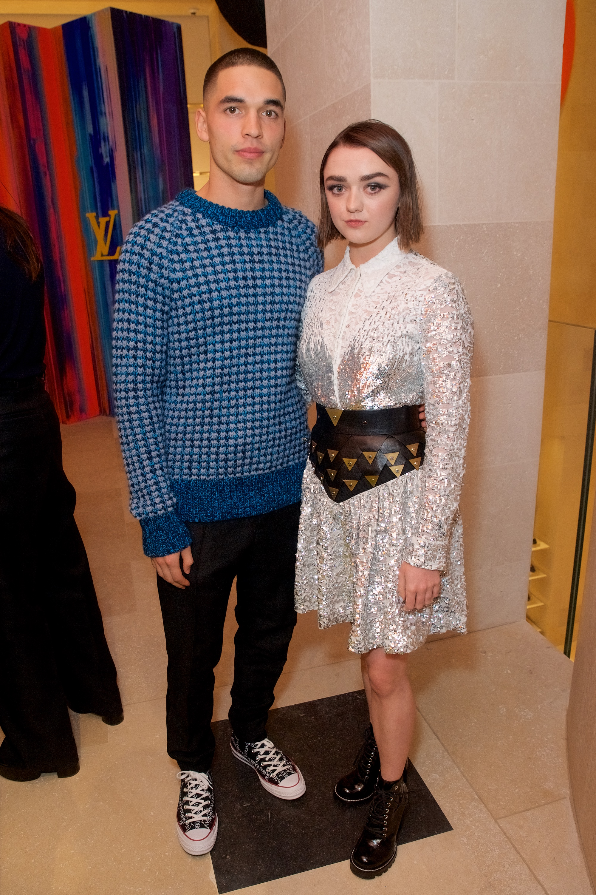 Reuben Selby and Maisie Williams at the Louis Vuitton New Bond Street opening