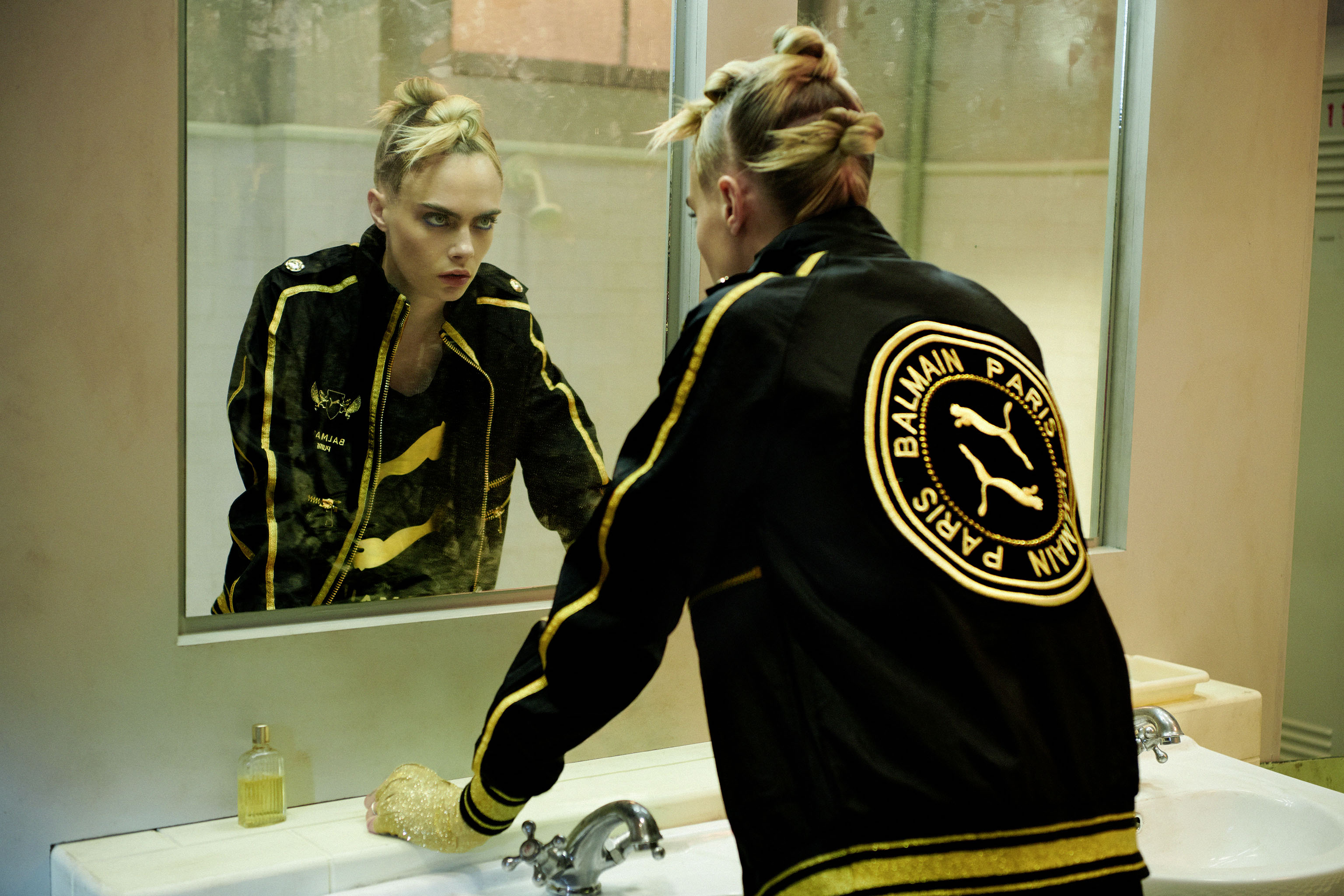 A look from the Puma x Balmain collection created by Cara Delevingne