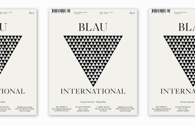 The cover of Blau magazine featuring art by Bridget Riley