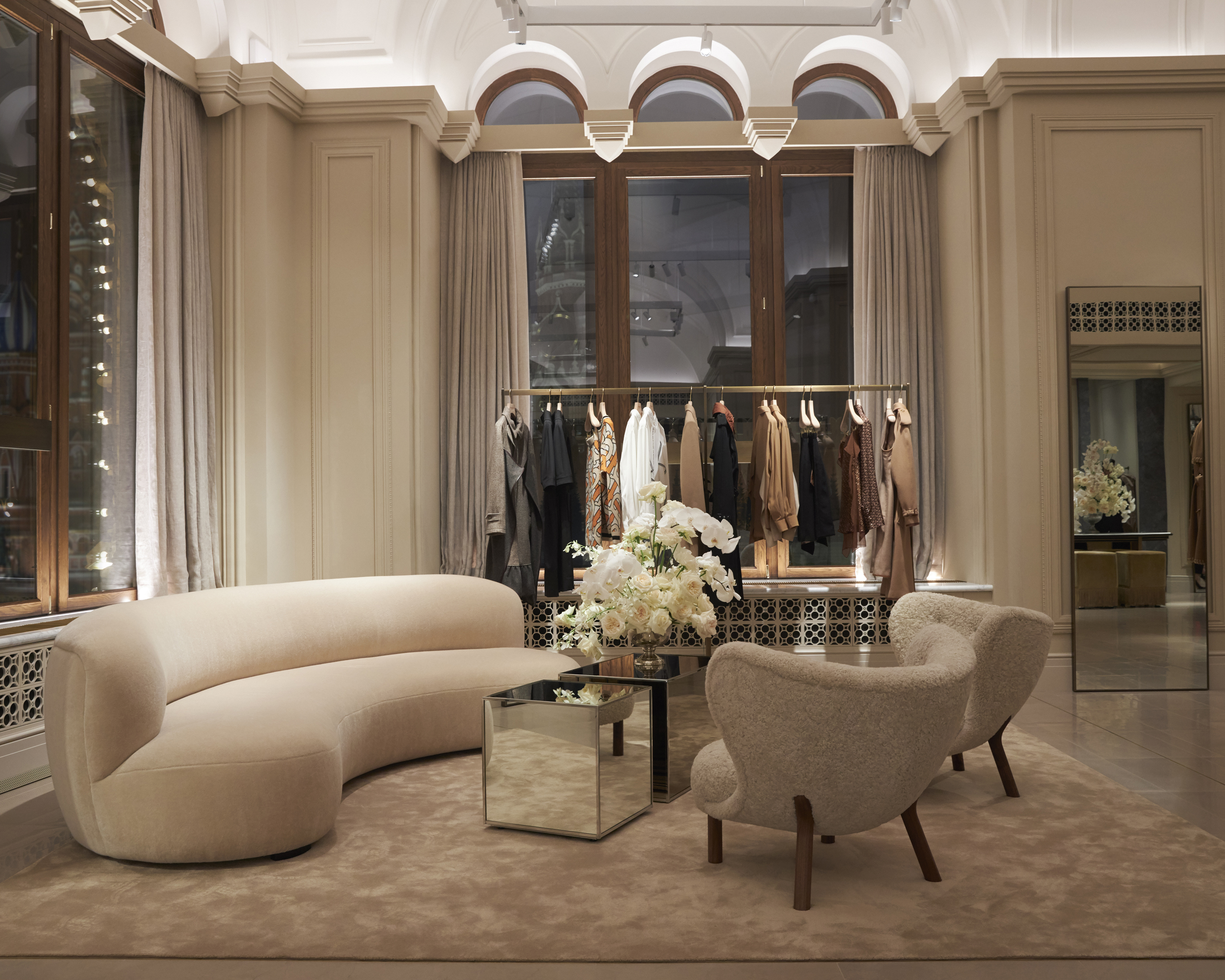 Inside Burberry's store in Gum, Moscow