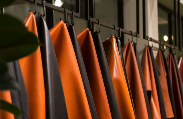 Leather hides at the 97th edition of the Lineapelle trade show held in Milan, Oct. 2 to 4.