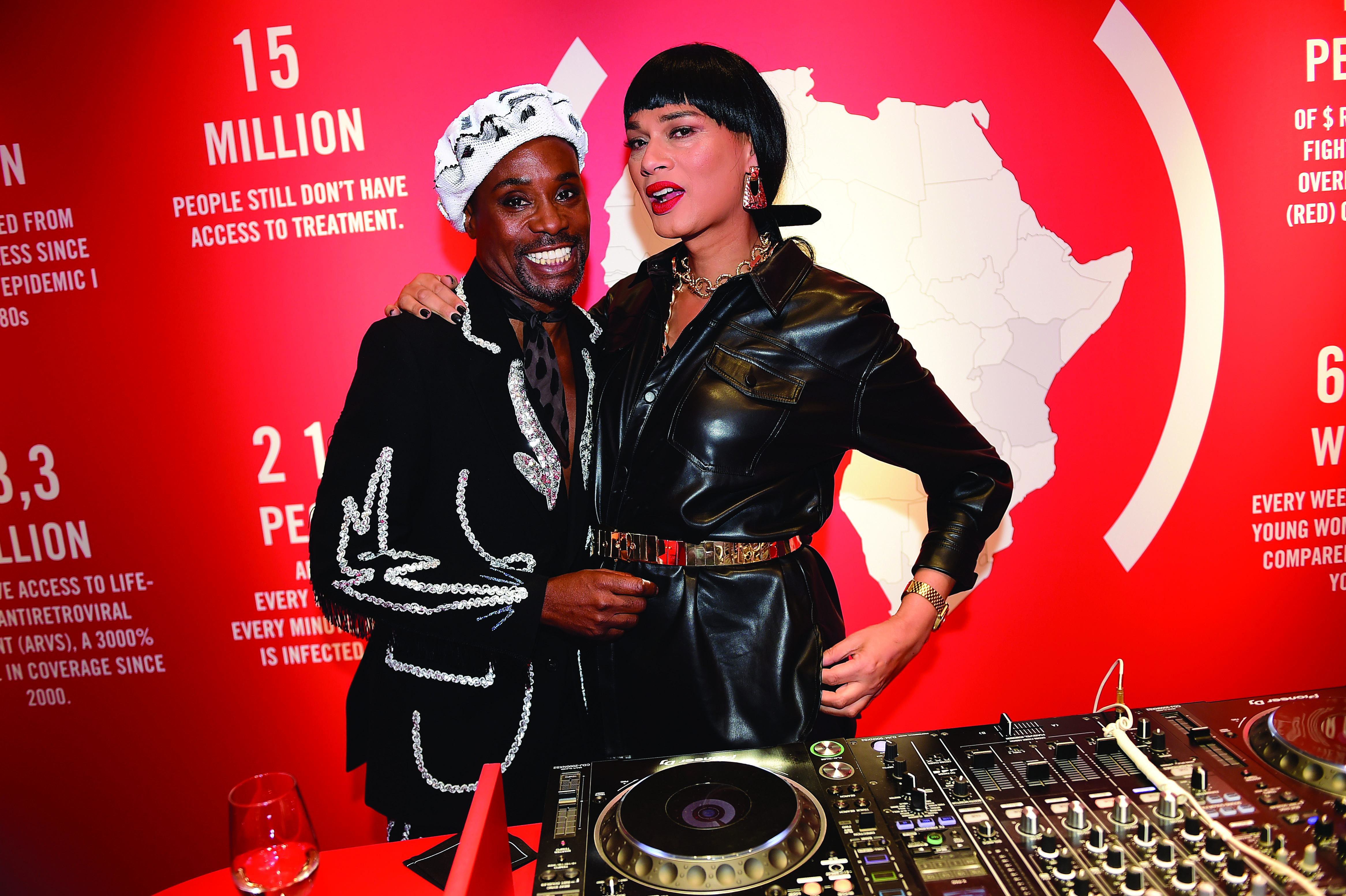 Billy Porter and DJ Sunny Jansen at Montblanc's Red event in Paris