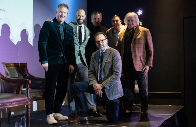 Todd Snyder, Simon Crompton, Nick Sullivan, Richard Press, Alan Flusser and (kneeling) Sid Mashburn take on the topic of preppy.