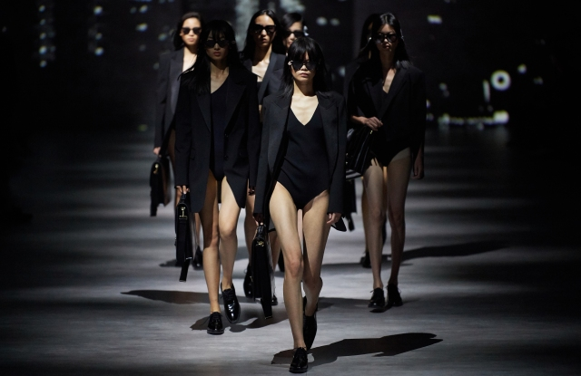 """Opening scene at Lily's Shanghai Fashion Week Opening show, called """"Women in Suits."""" It paid tribute to the recently deceased photographer Peter Lindbergh."""