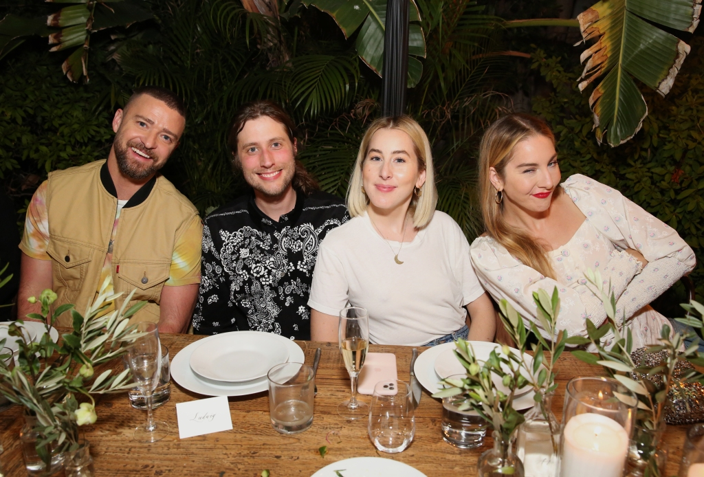 Justin Timberlake, Ludwig Goransson, Alana Haim and Este Haim attend the Levi's Music Project with Justin Timberlake and FW19 Collection Launch at the Levi's Haus on Tuesday, Oct. 15, 2019, in Los Angeles. (Photo by Blair Raughley/Invision for Levi's/AP Images)