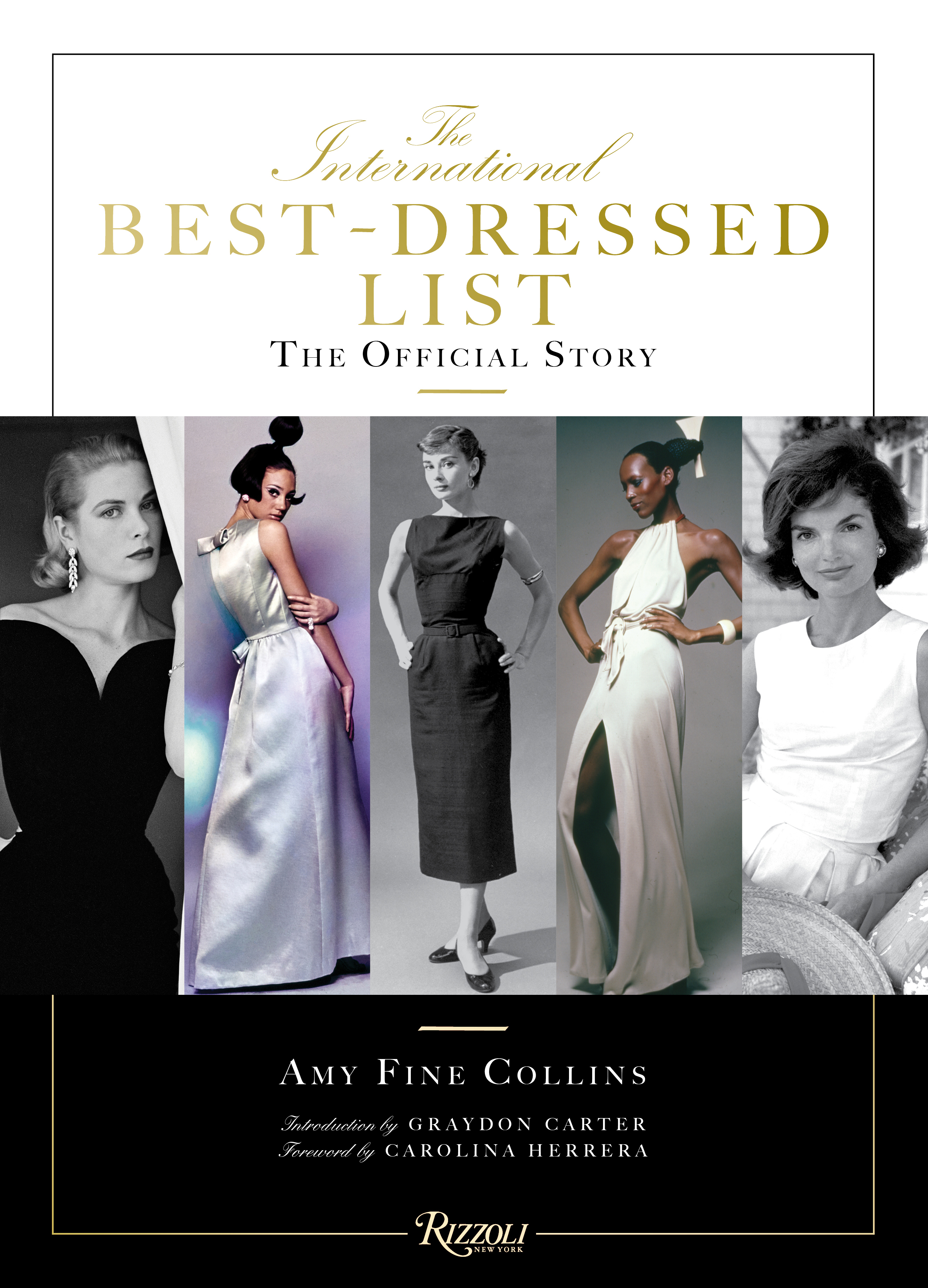 "The book's ""belly band"" features Grace Kelly, Marisa Berenson, Audrey Hepburn, Naomi Sims and Jacqueline Kennedy."