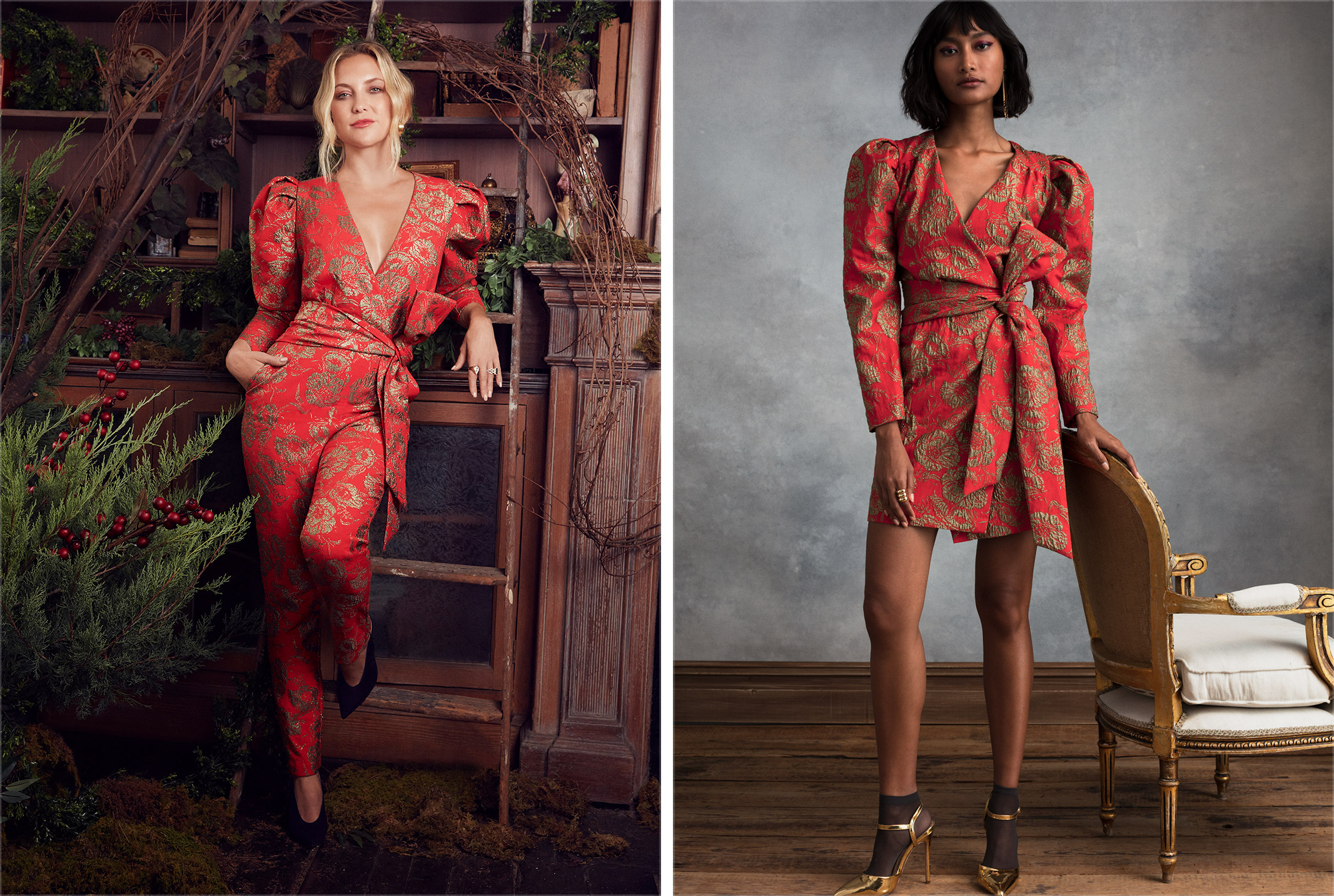 Two looks from Happy X Nature's eco-evening collection.