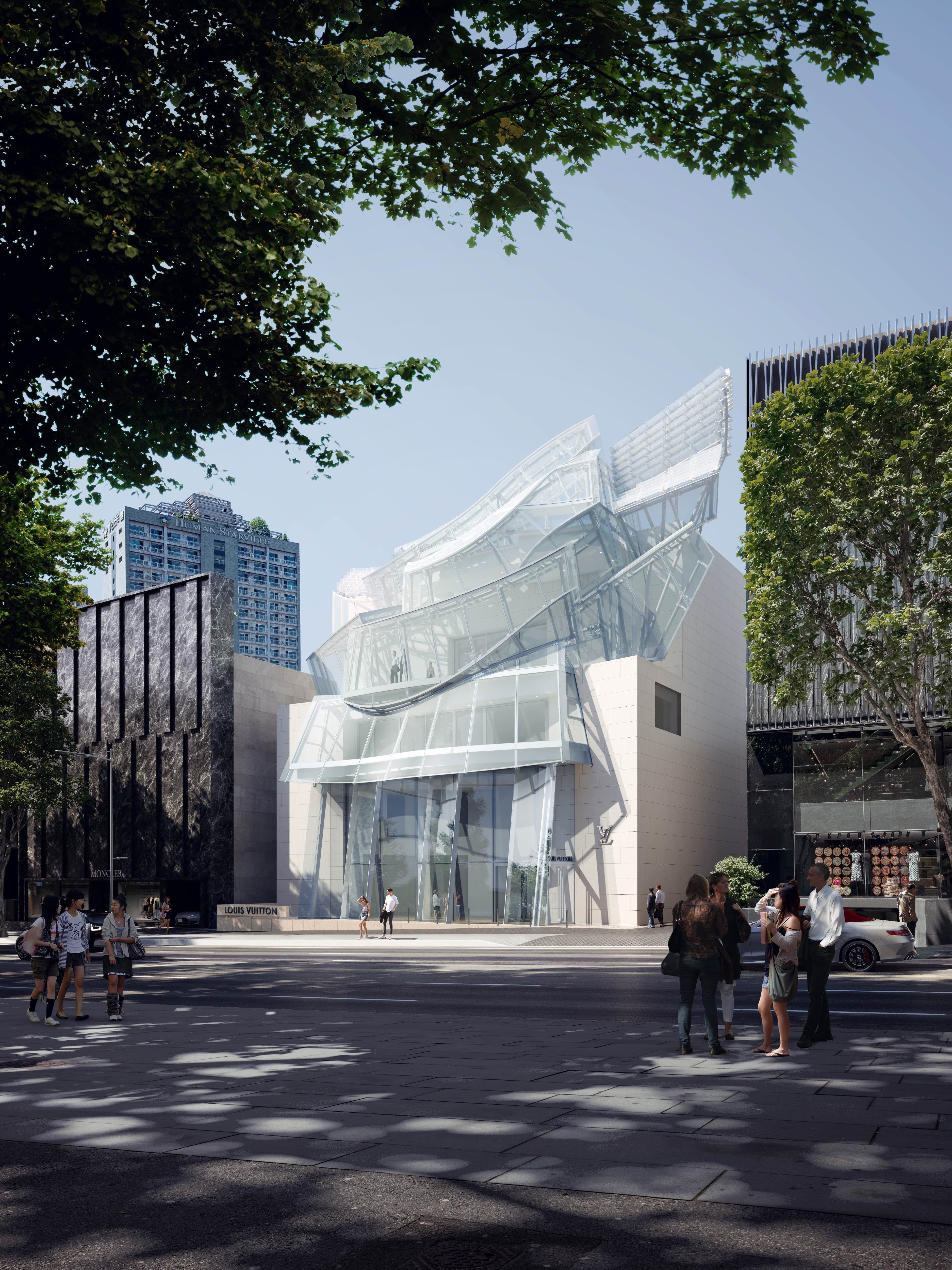 A rendering of the new Louis Vuitton Maison in Seoul.