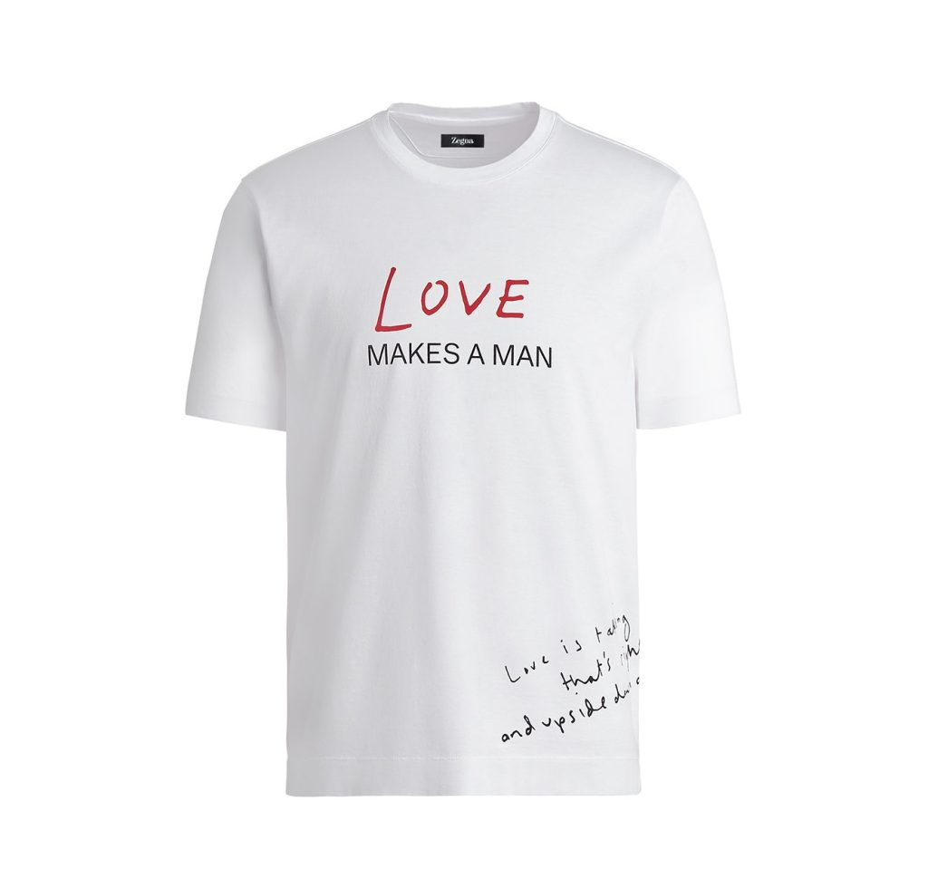 """An Ermenegildo Zegna's T-shirt supporting the """"From A to Zegna"""" charity initiative."""