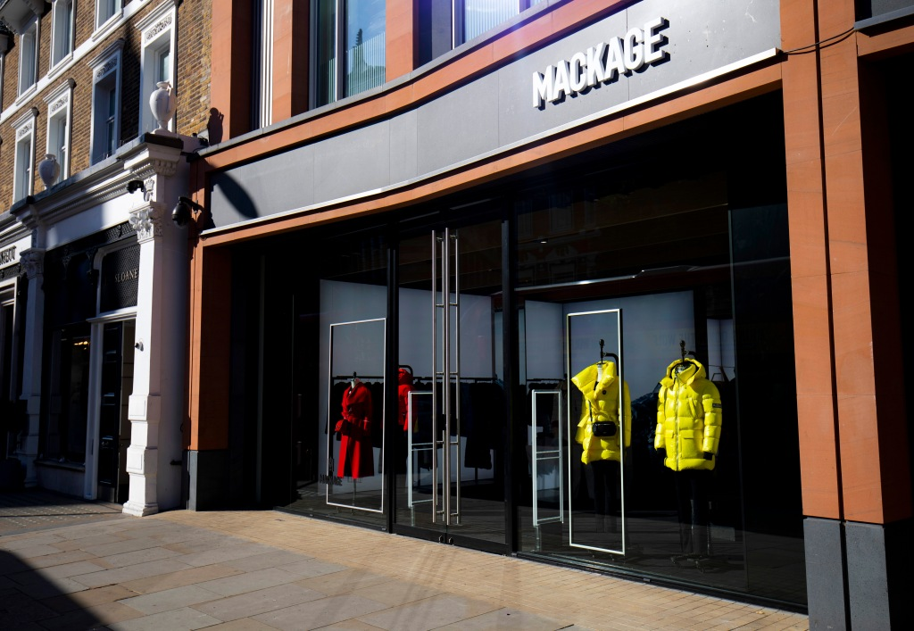 The Mackage pop-up on Sloane Street
