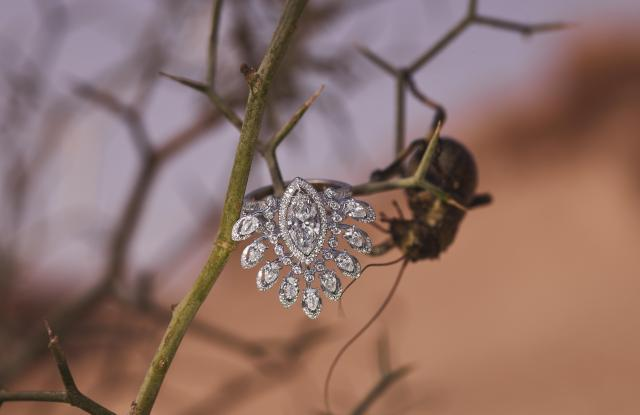A 2.9-carat diamond Desert Bloom cocktail ring from Messika's Born to Be Wild high-jewelry collection.